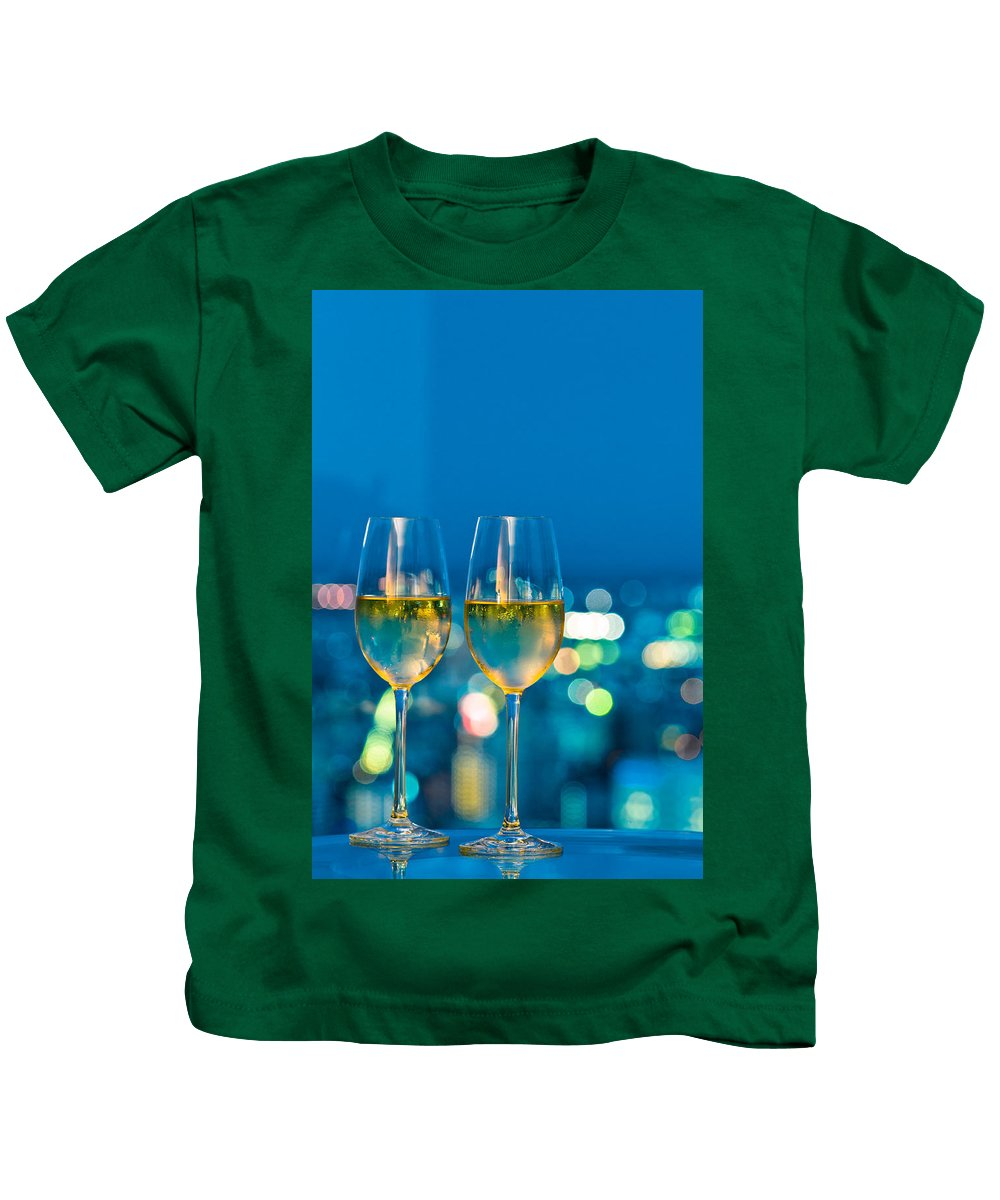 Alcohol Kids T-Shirt featuring the photograph Champagne Glasses In Front Of A Window by U Schade