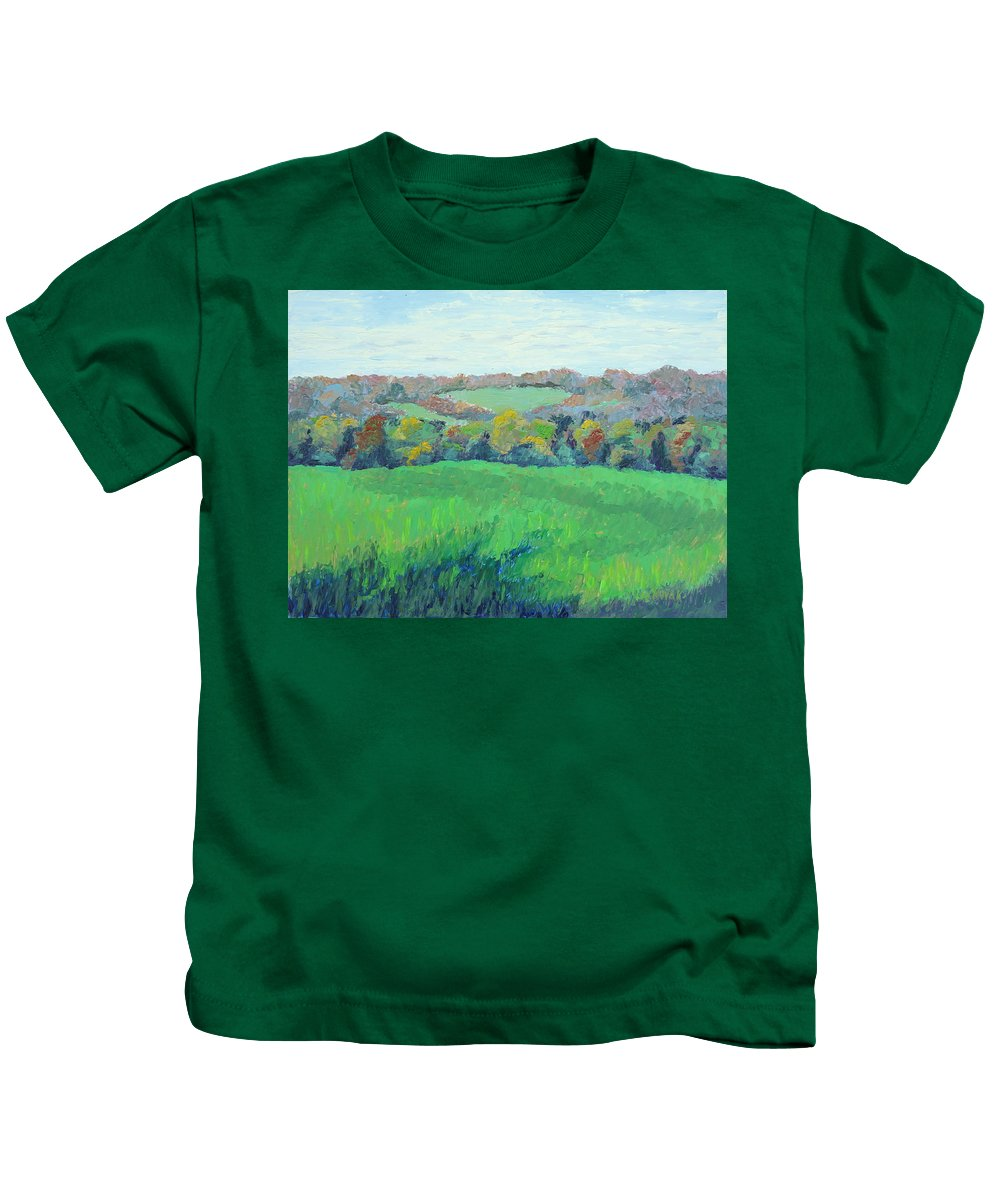 Landscape Kids T-Shirt featuring the painting Hilltop View - Covered Bridge Road by Lea Novak