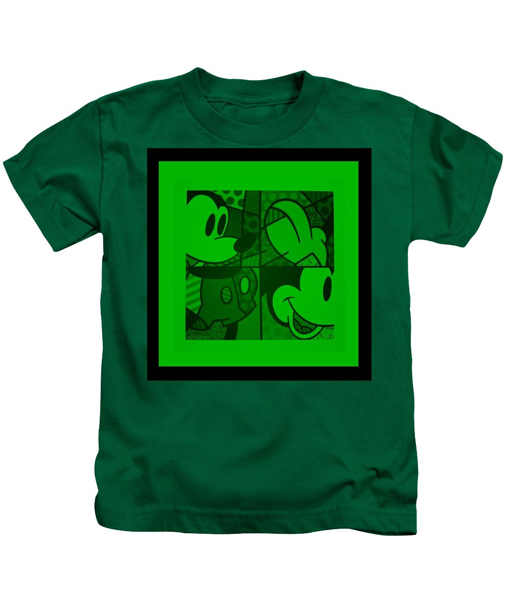 Mickey Mouse Kids T-Shirt featuring the photograph Mickey In Green by Rob Hans