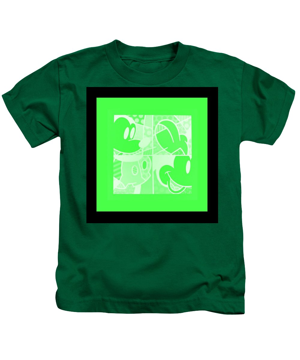 Mickey Mouse Kids T-Shirt featuring the photograph Mickey In Negative Light Green by Rob Hans