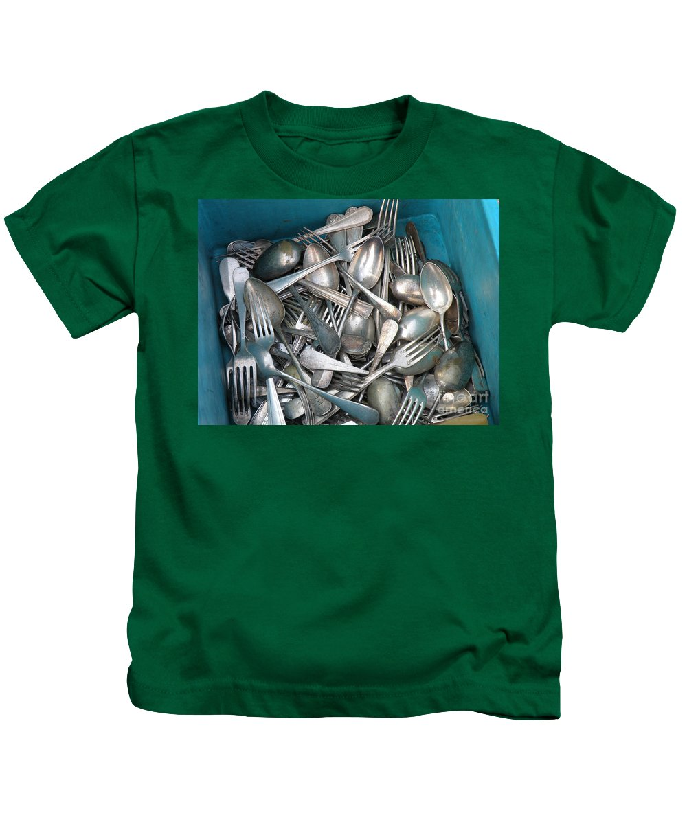 Silverware Kids T-Shirt featuring the photograph Turquoise Box Of Silverware by Lainie Wrightson