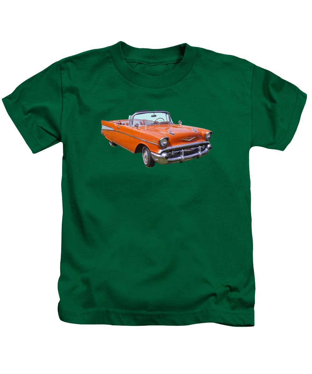 Automobile Kids T-Shirt featuring the photograph 1957 Chevrolet Bel Air 2-door Convertible 1 by Keith Webber Jr