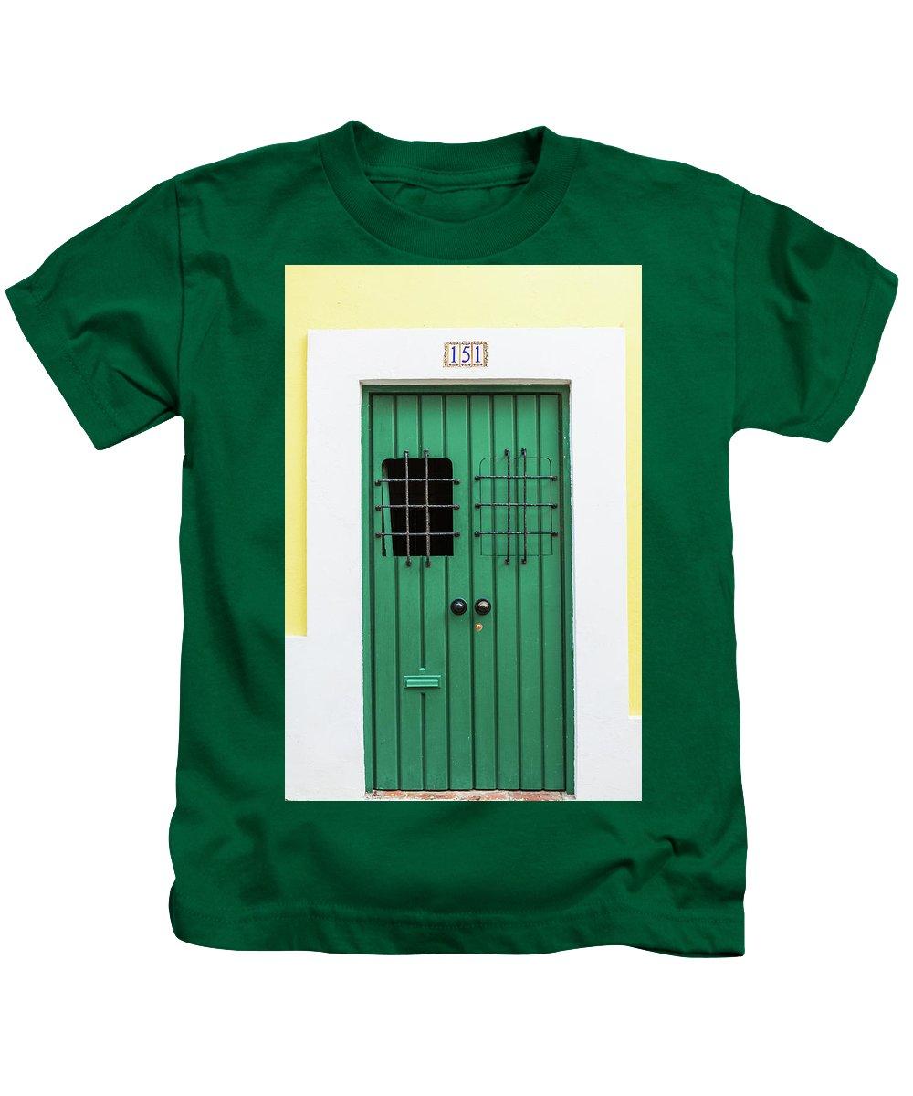 Green Door Kids T-Shirt featuring the photograph Wooden Door In Old San Juan, Puerto Rico by Jasmin Burton