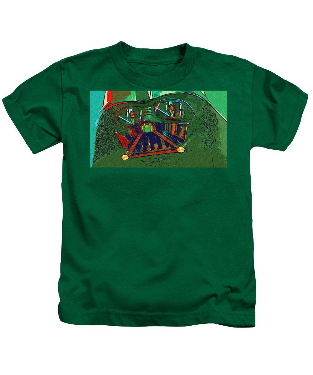 Star Wars Kids T-Shirt featuring the digital art Star Wars The Art by Larry Jones