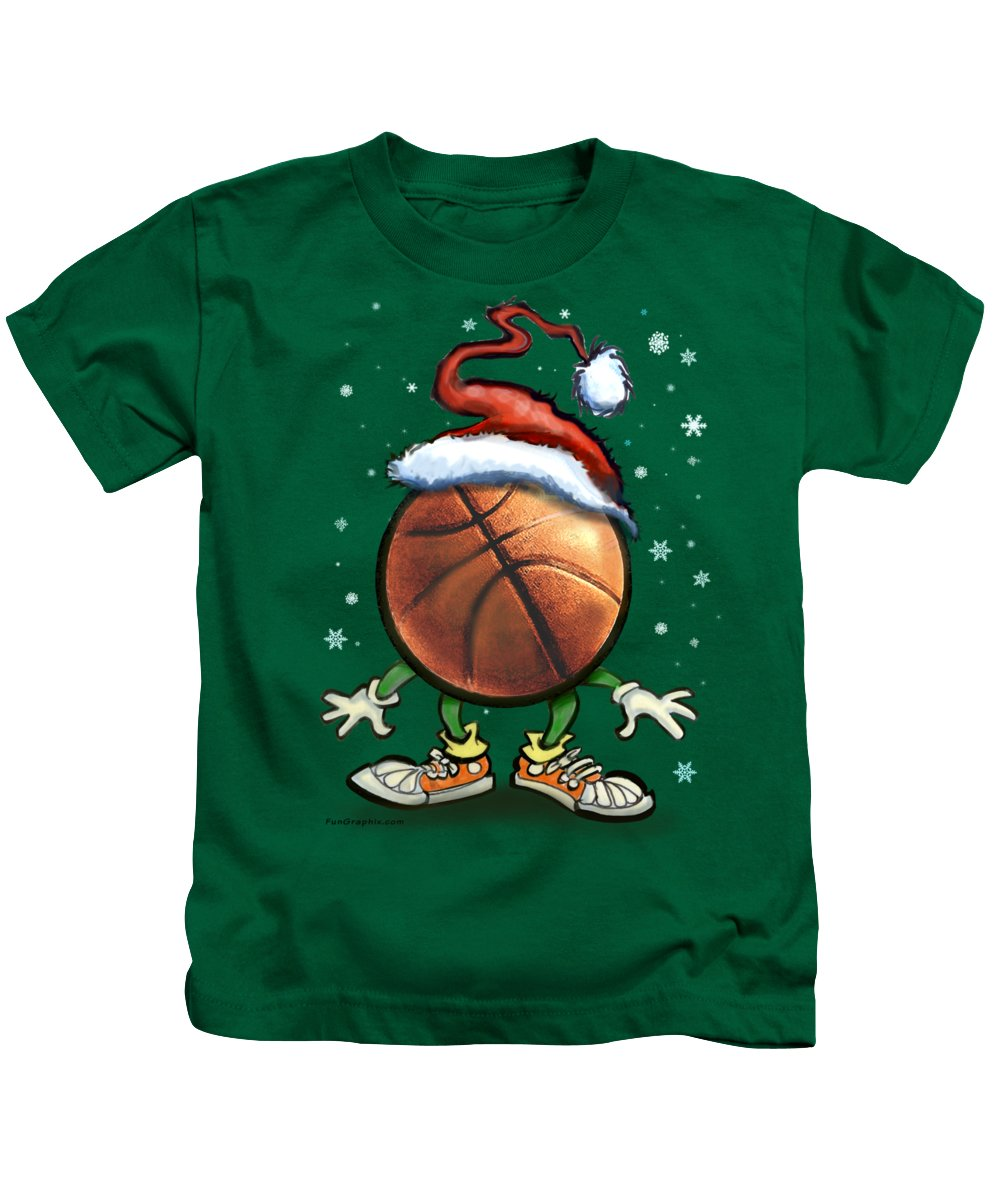 Basketball Kids T-Shirt featuring the digital art Basketball Christmas by Kevin Middleton