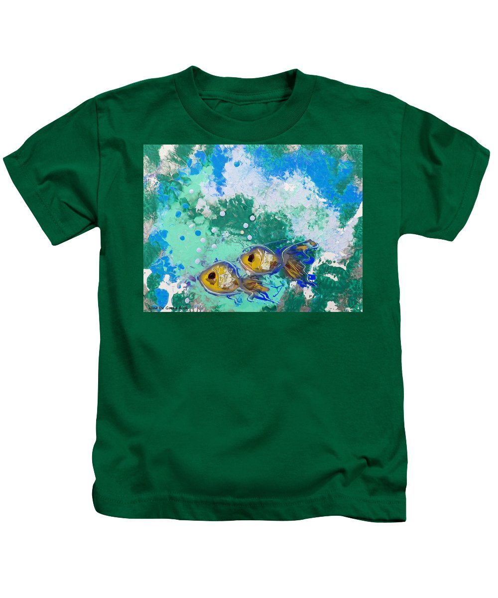 Fish Kids T-Shirt featuring the painting 2 Fish by Gina De Gorna