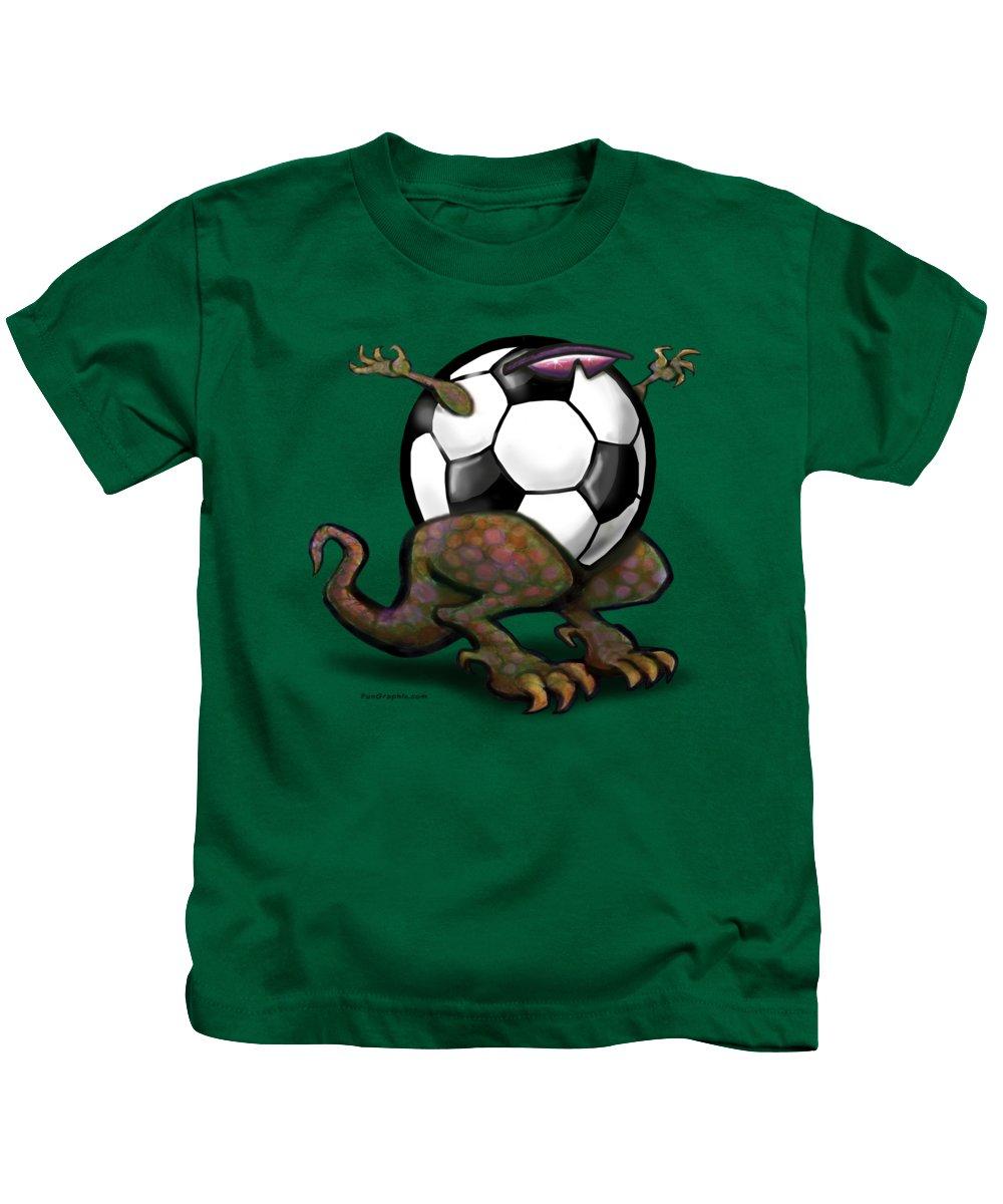 Soccer Kids T-Shirt featuring the digital art Soccer Saurus Rex by Kevin Middleton