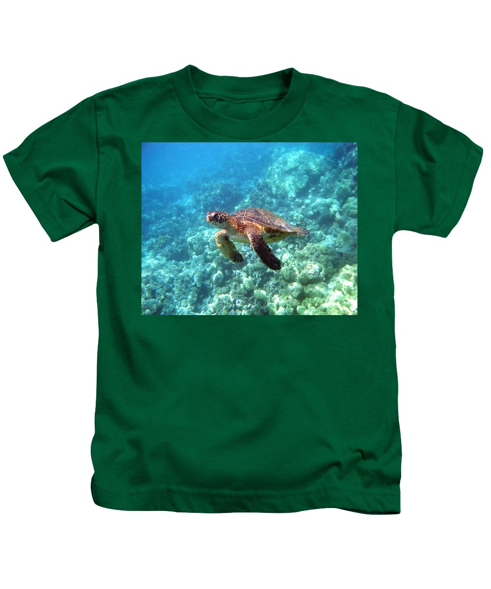 Sea Turtle Kids T-Shirt featuring the photograph Young One by Angie Hamlin