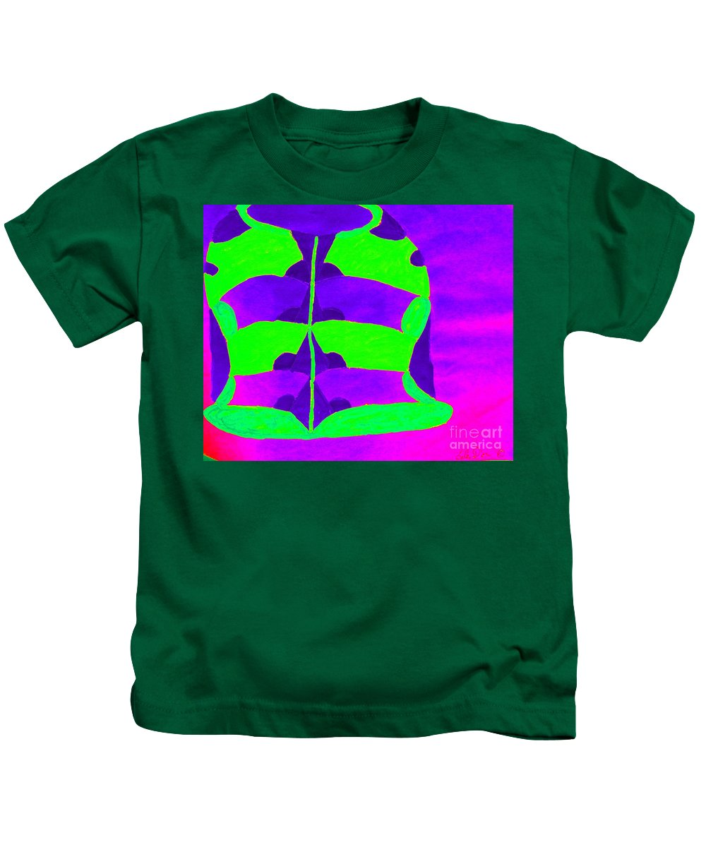 Green And Purple Vase Kids T-Shirt featuring the painting A Colourful Vase by Lise Theodoridis