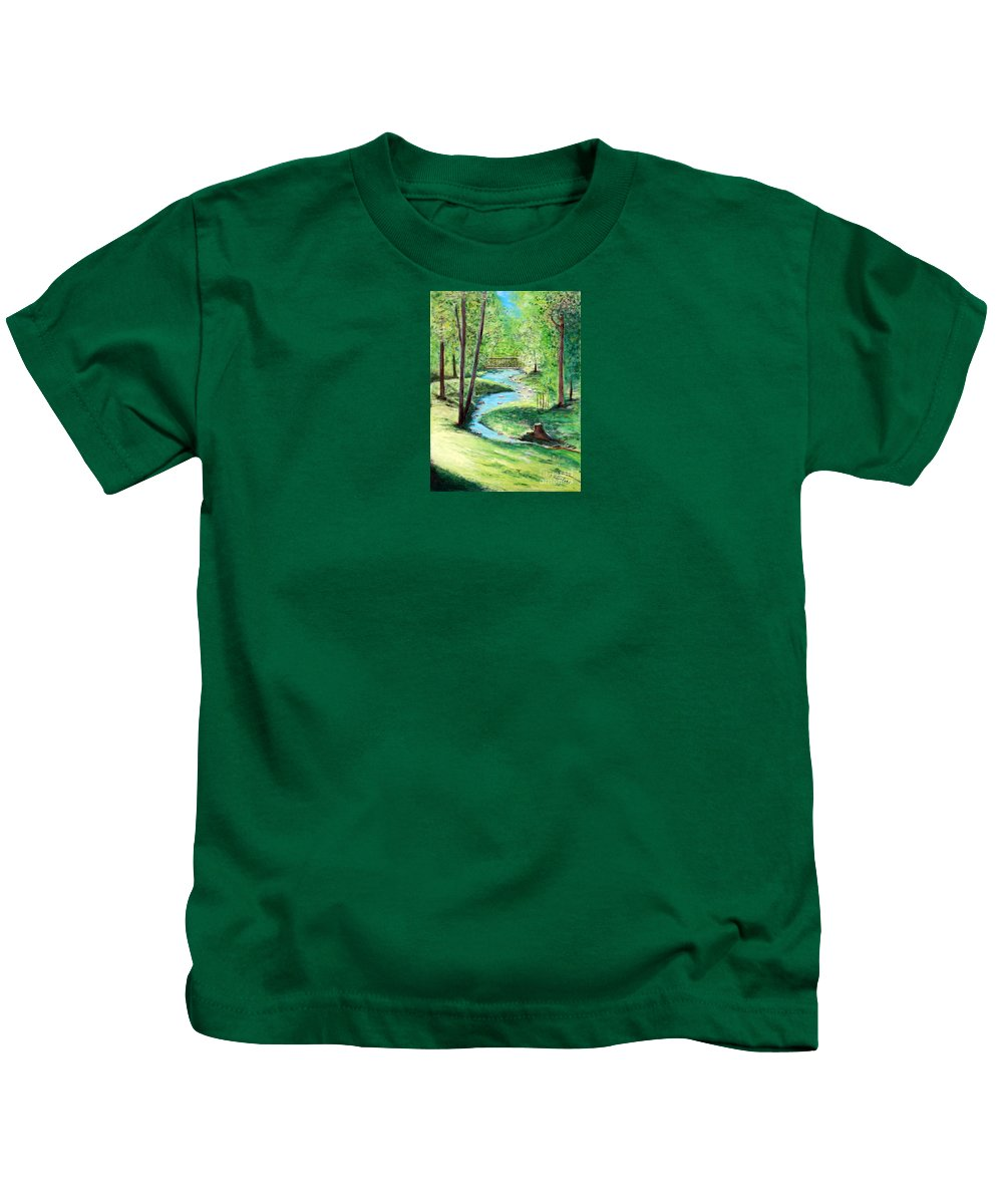 Landscape Kids T-Shirt featuring the painting A Little Brook With A Bridge by Sabina Faynberg