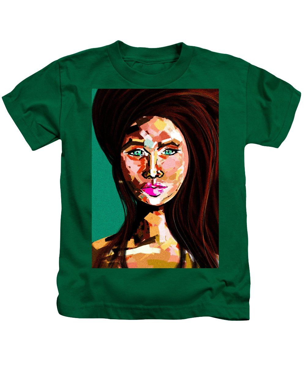 Lady Kids T-Shirt featuring the digital art Anna by Lisa Lown