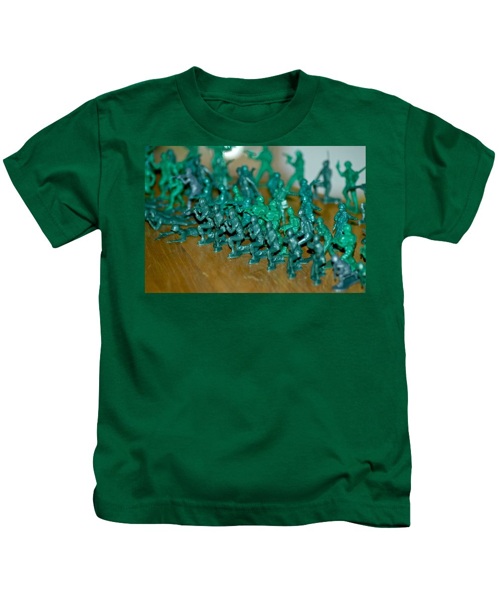 Army Men Kids T-Shirt featuring the photograph Army Men Line Up by Dale Chapel
