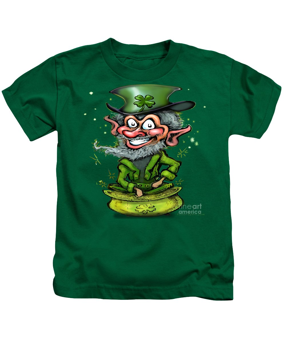 Leprechaun Kids T-Shirt featuring the painting Leprechaun On Pot Of Gold by Kevin Middleton