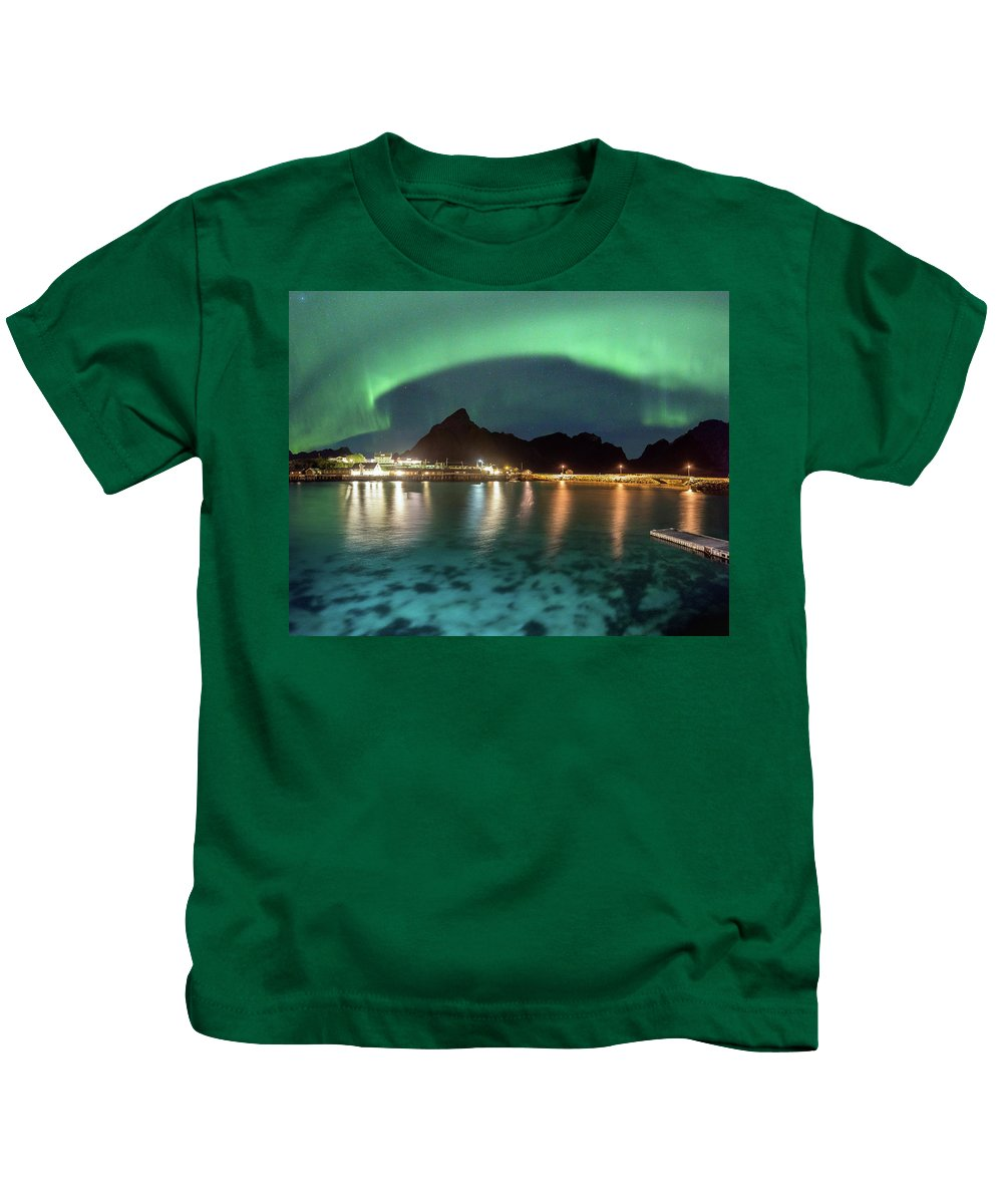 Aurora Kids T-Shirt featuring the photograph Aurora Above Turquoise Waters by Alex Conu