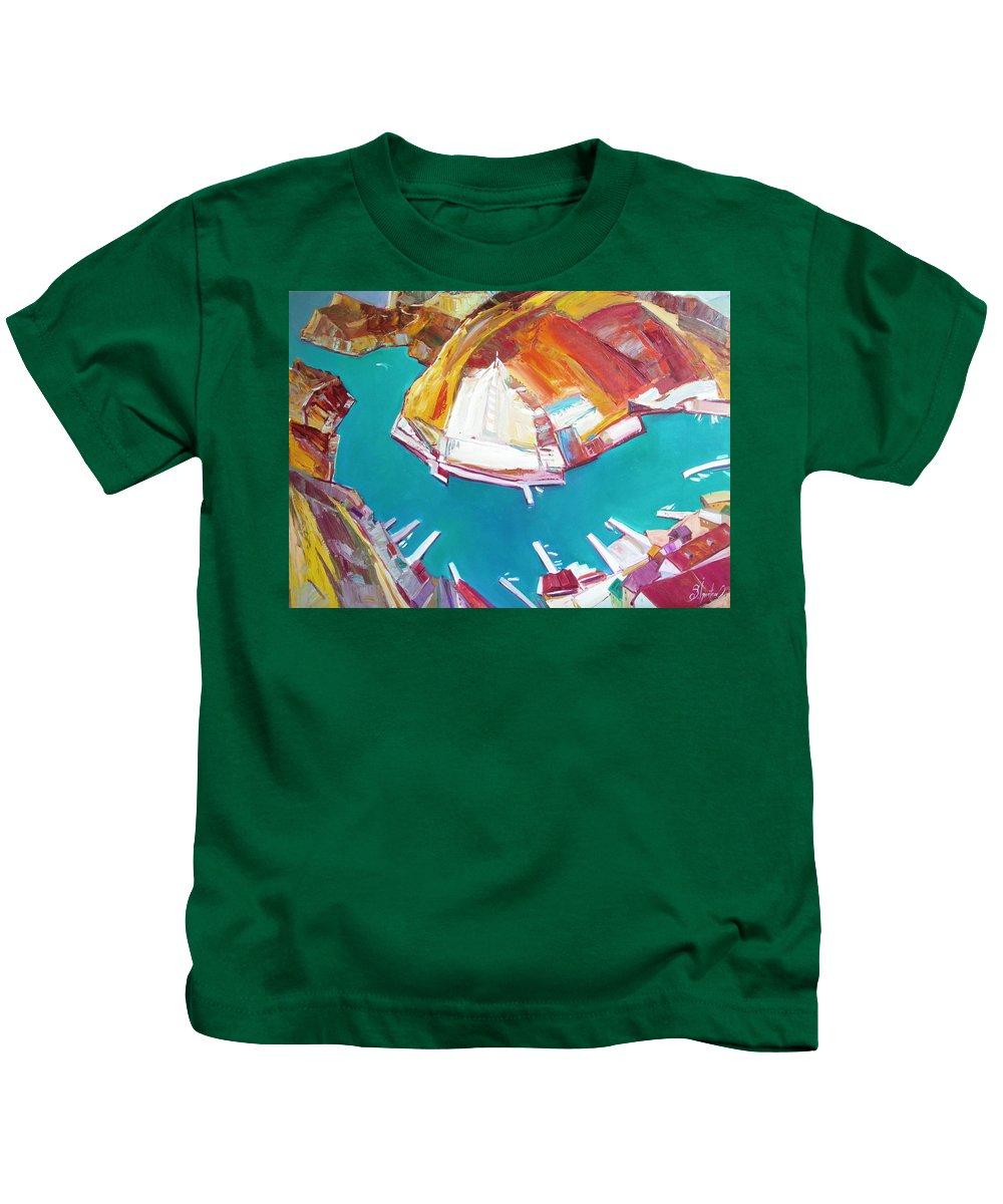 Ignatenko Kids T-Shirt featuring the painting Balaklaw Bay by Sergey Ignatenko