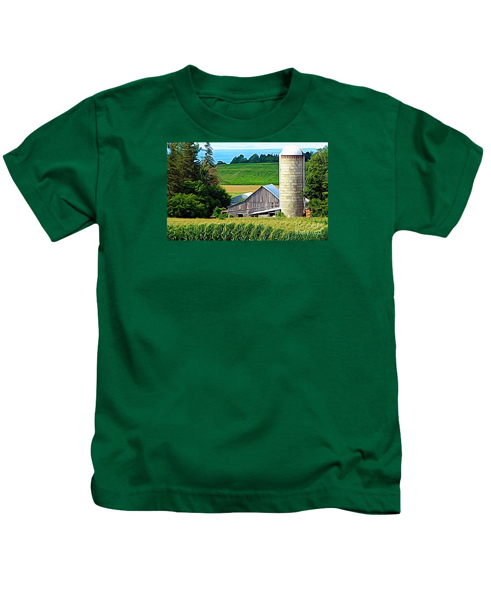 Barn Silo And Crops In Nys Expressionistic Kids T-Shirt featuring the photograph Barn Silo And Crops In Nys Expressionistic Effect by Rose Santuci-Sofranko