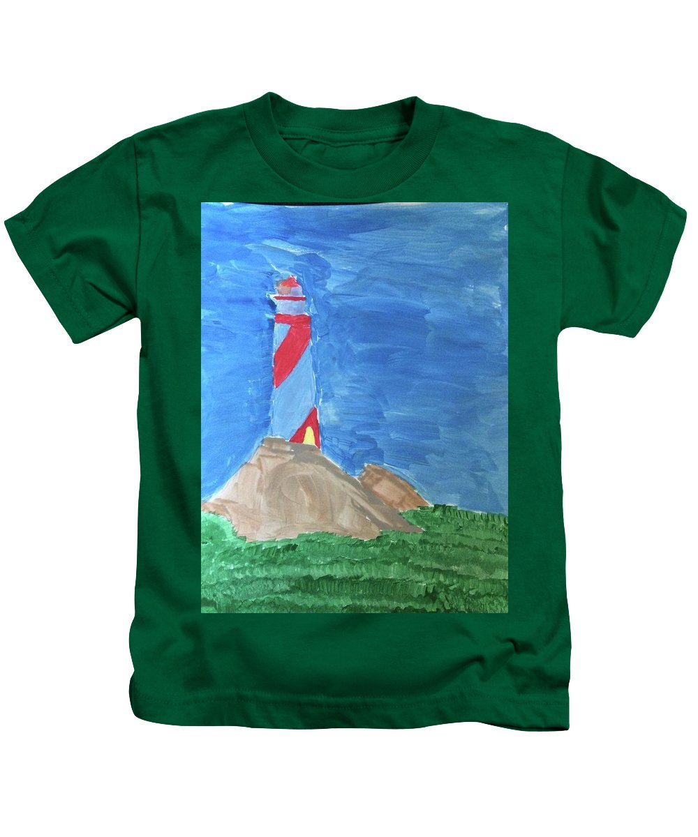 Landscape Kids T-Shirt featuring the painting Beacon In Te Field by Thom Futrell