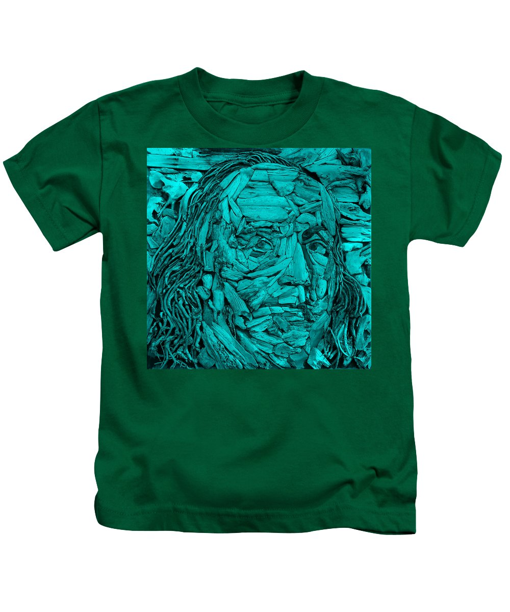 Ben Franklin Kids T-Shirt featuring the photograph Ben In Wood Turquoise by Rob Hans