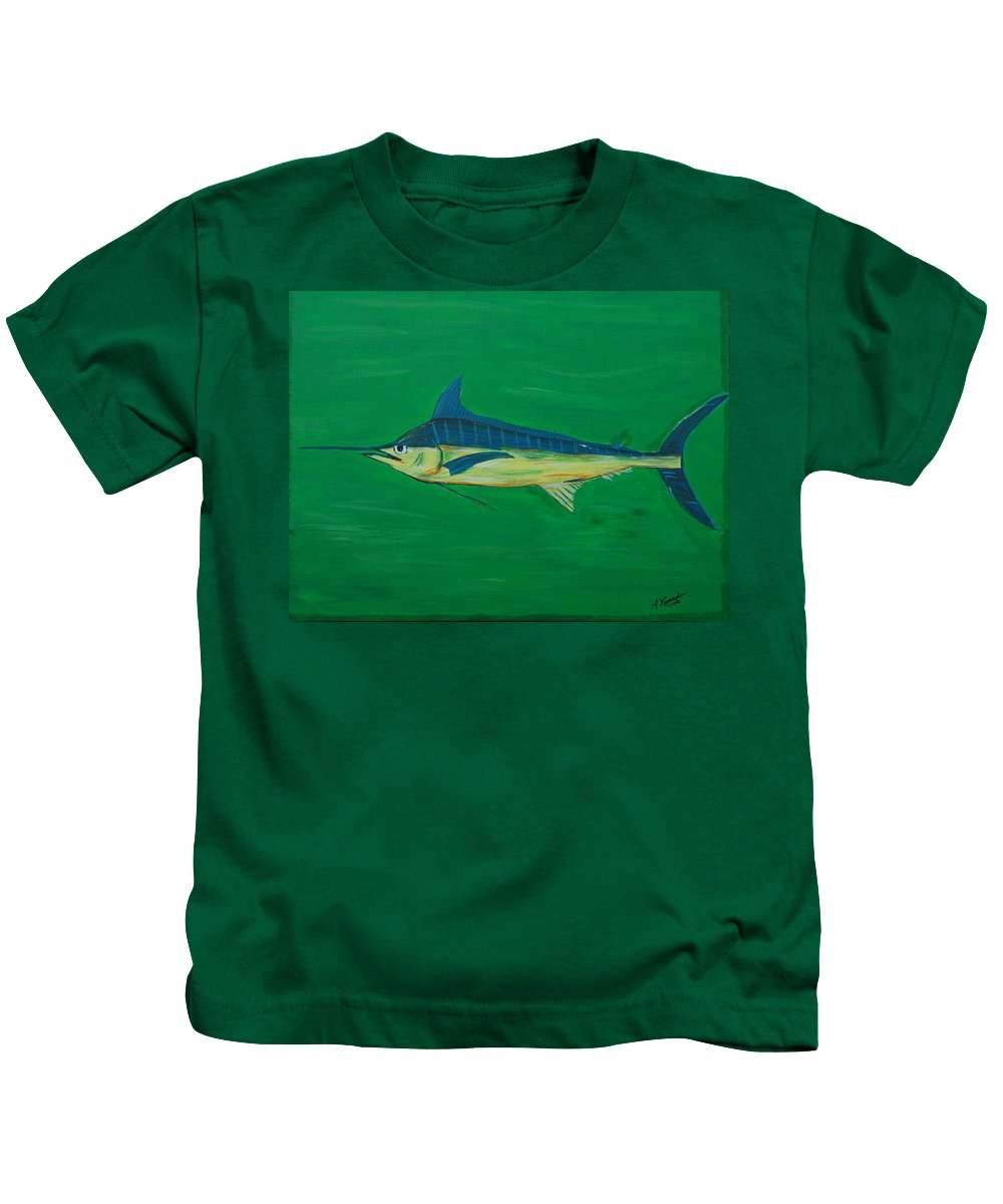 Blue Marlin Kids T-Shirt featuring the painting Big Fish by Angela Miles Varnado