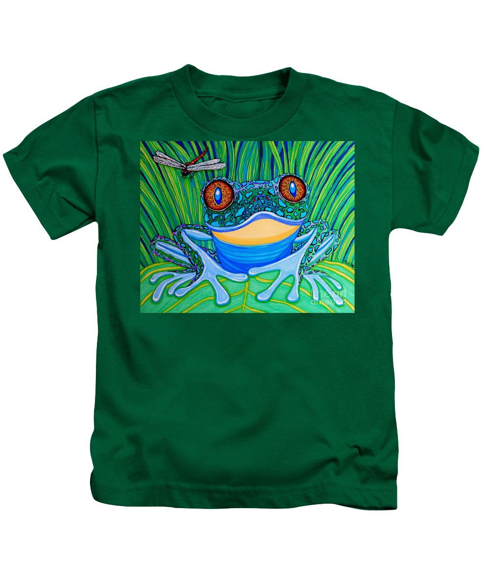 Frog Kids T-Shirt featuring the drawing Bright Eyes 2 by Nick Gustafson