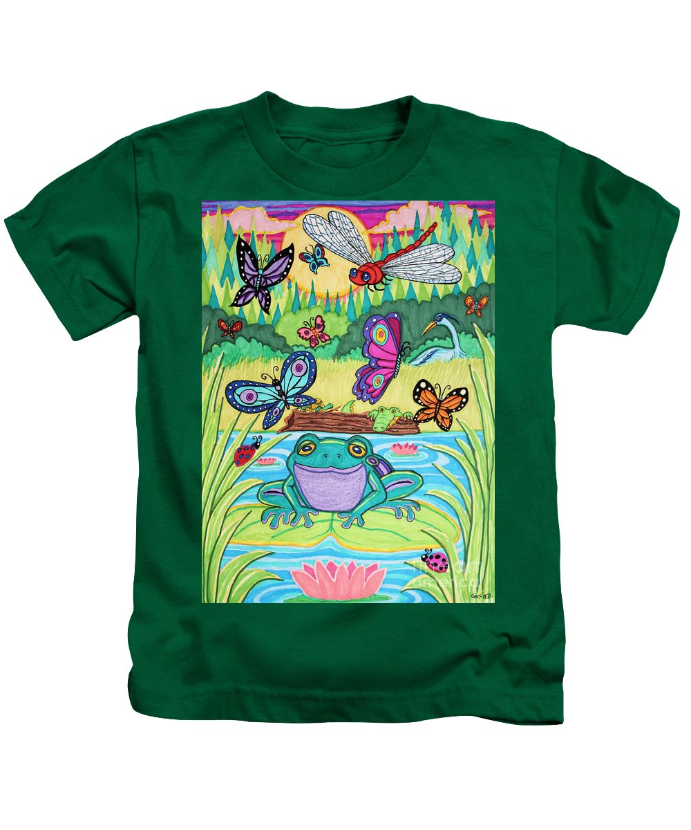 Butterfly Kids T-Shirt featuring the drawing Butterfly Lake by Nick Gustafson