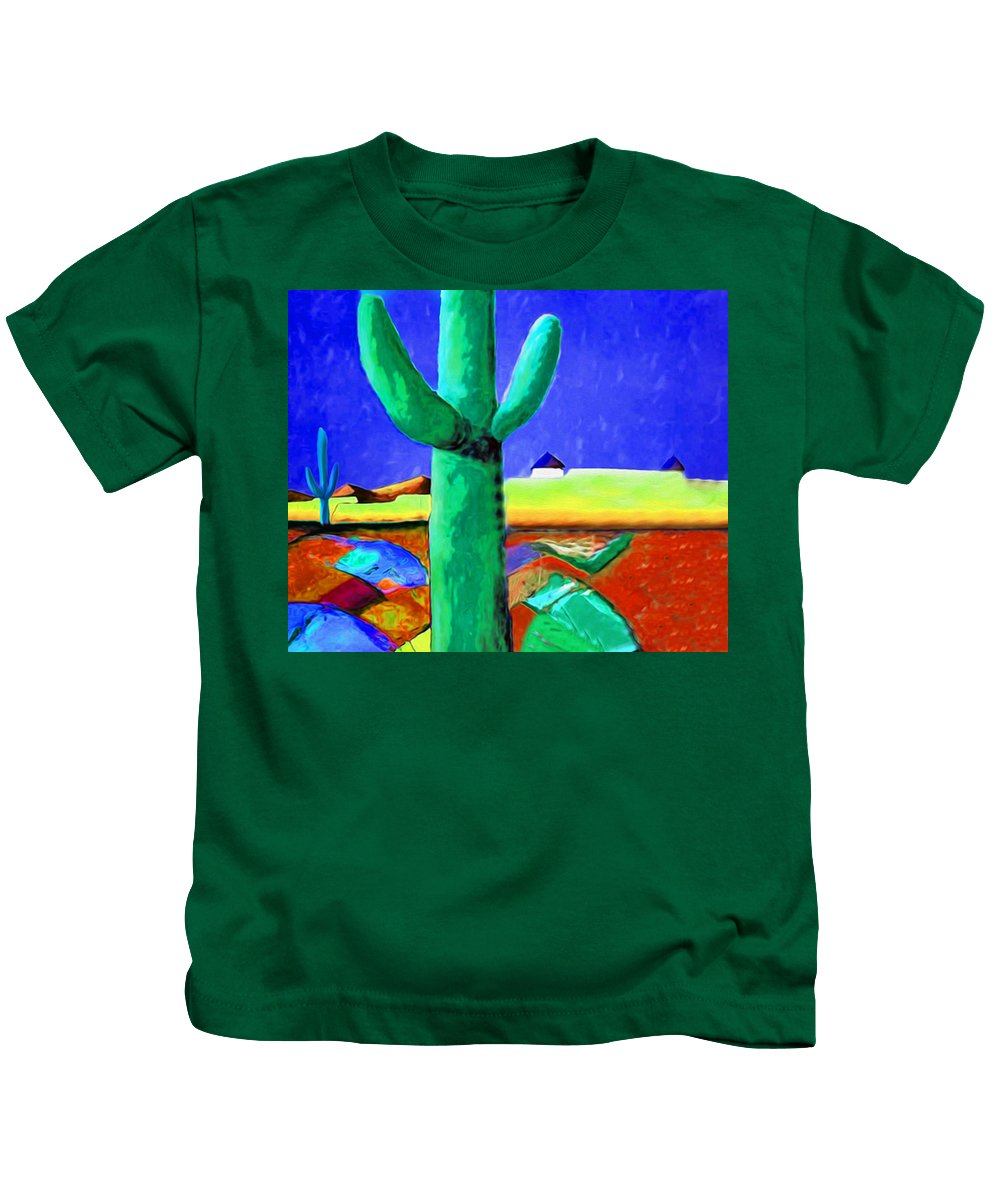 Cactus Kids T-Shirt featuring the painting Cactus By Nixo by Supreme Inc