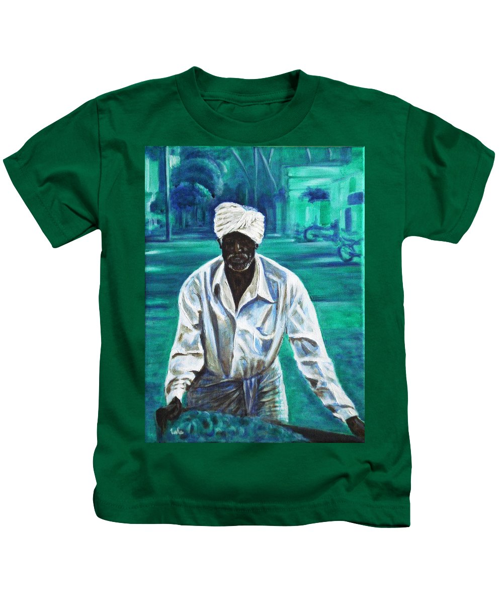 Indian Kids T-Shirt featuring the painting Cart Vendor by Usha Shantharam