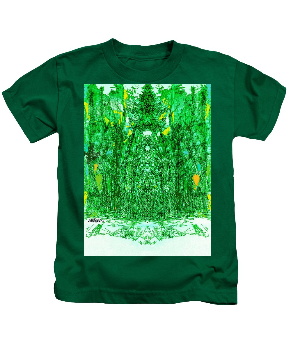 Cathedral Kids T-Shirt featuring the digital art Cathedral Of Trees by Seth Weaver