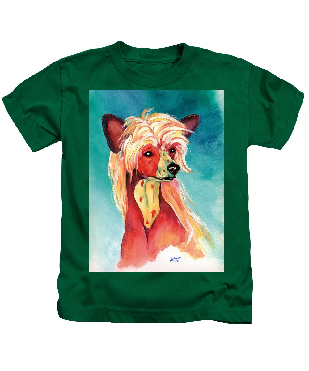 Art Kids T-Shirt featuring the painting Chinese Crested Sunset by Kathleen Sepulveda