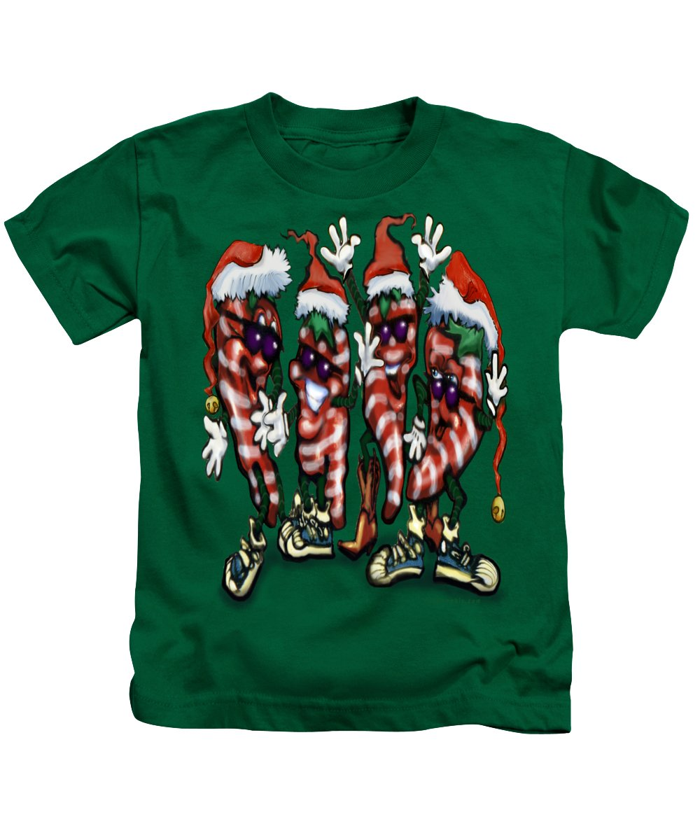 Christmas Kids T-Shirt featuring the digital art Christmas Candy Peppers Gang by Kevin Middleton