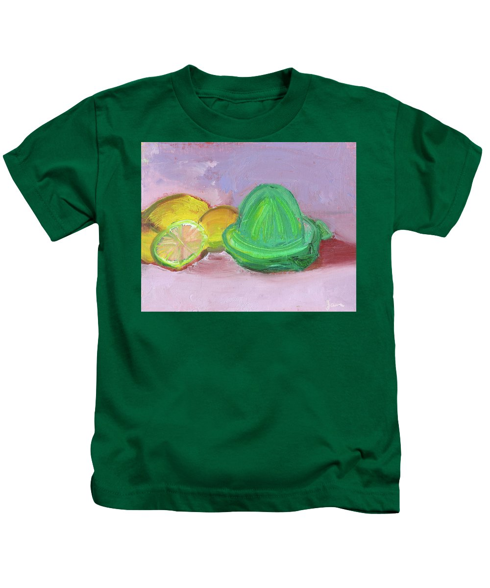 Kitchenart Kids T-Shirt featuring the painting Citrus Squeezer by Janet Gunderson