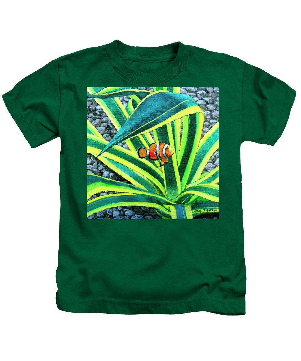 Fish Kids T-Shirt featuring the painting Clownfish by Snake Jagger