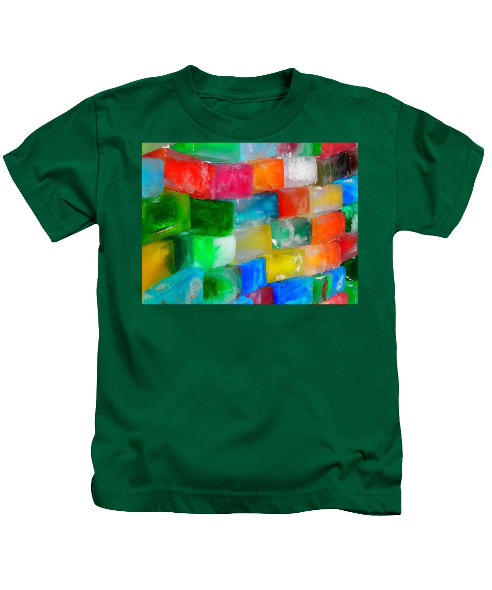 Wall Kids T-Shirt featuring the photograph Colored Ice Bricks by Juergen Weiss