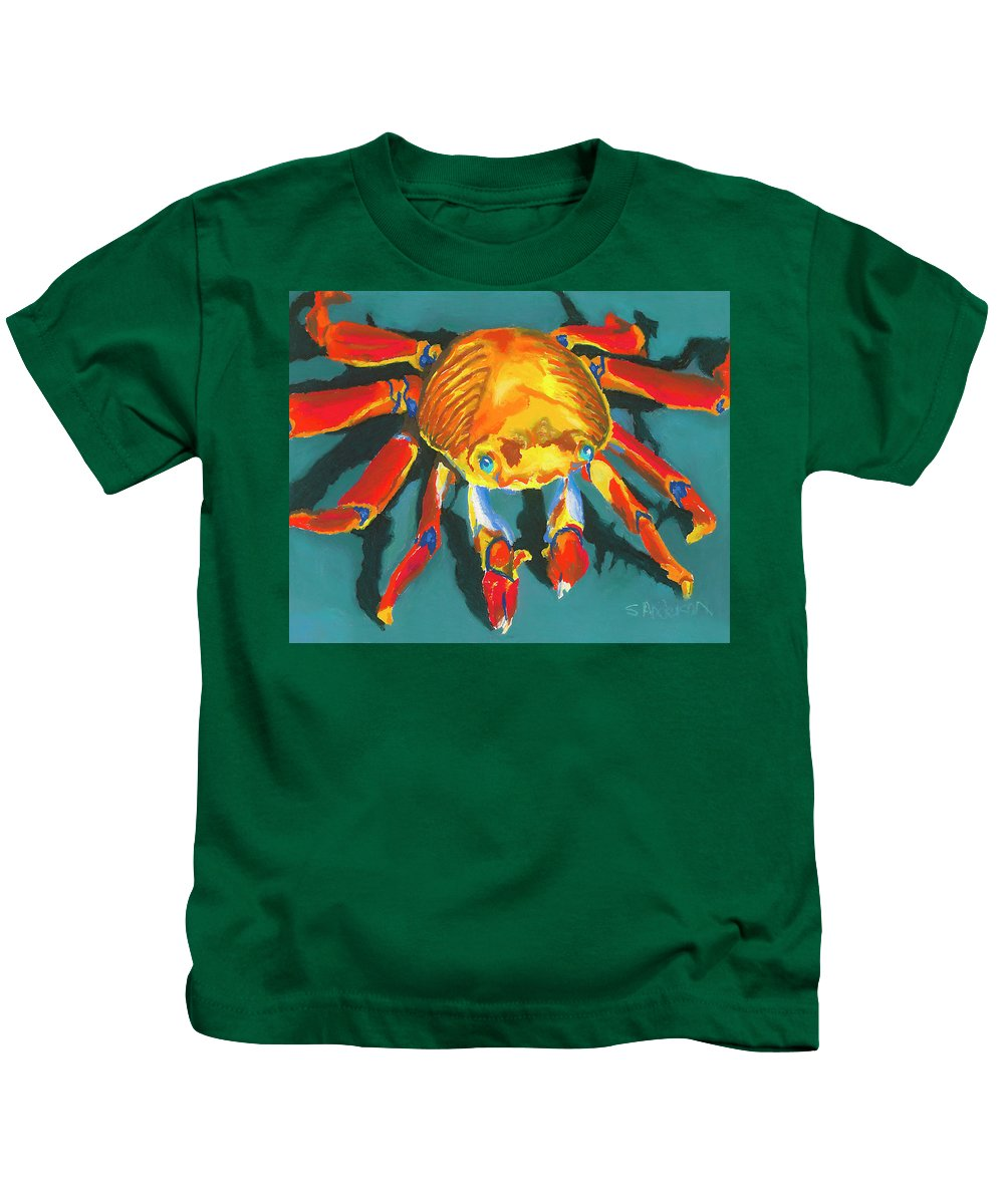 Crab Kids T-Shirt featuring the painting Colorful Crab II by Stephen Anderson