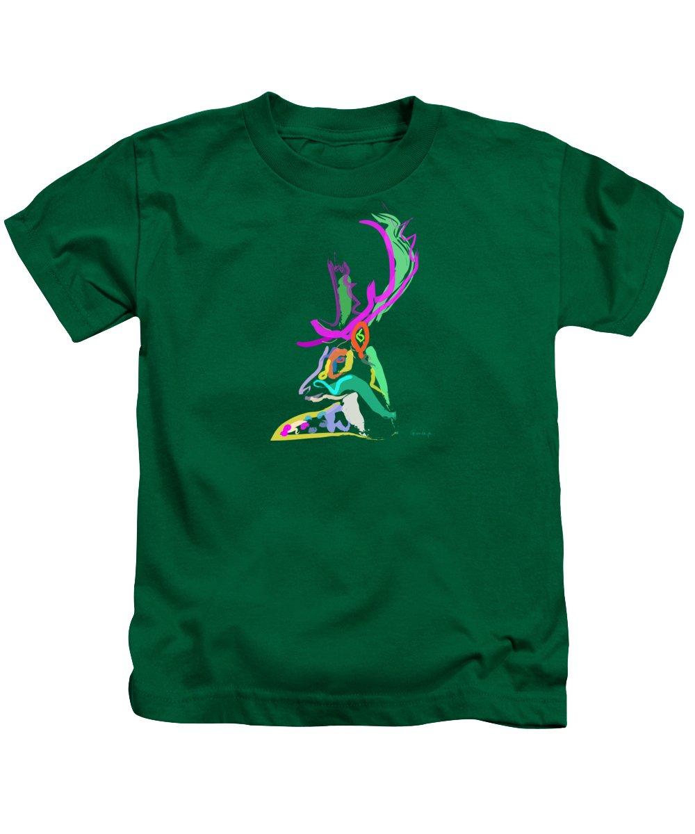Deer Kids T-Shirt featuring the painting Dear Deer by Go Van Kampen