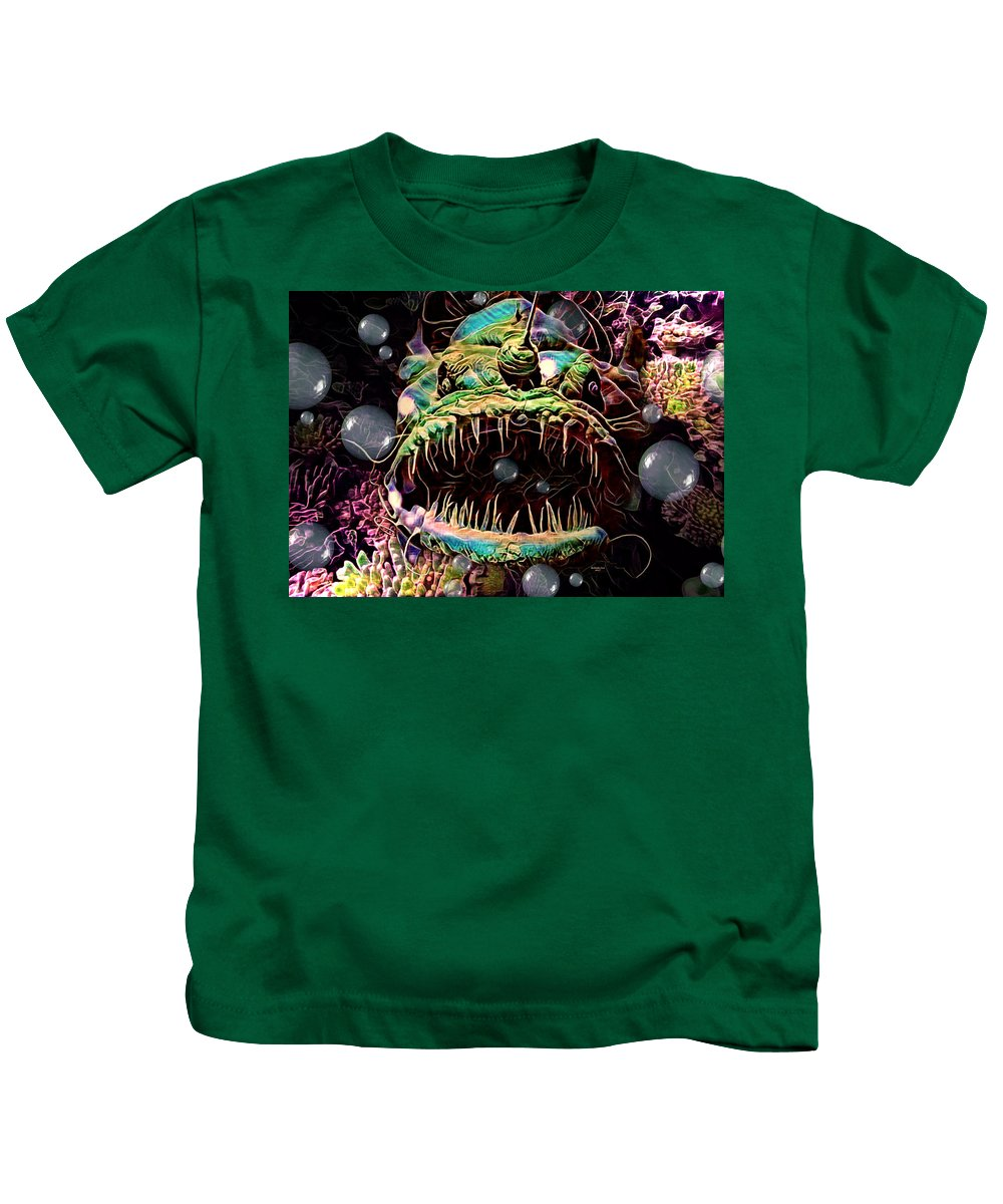 Digital Art Kids T-Shirt featuring the digital art Deep Sea Monster Fish by Artful Oasis