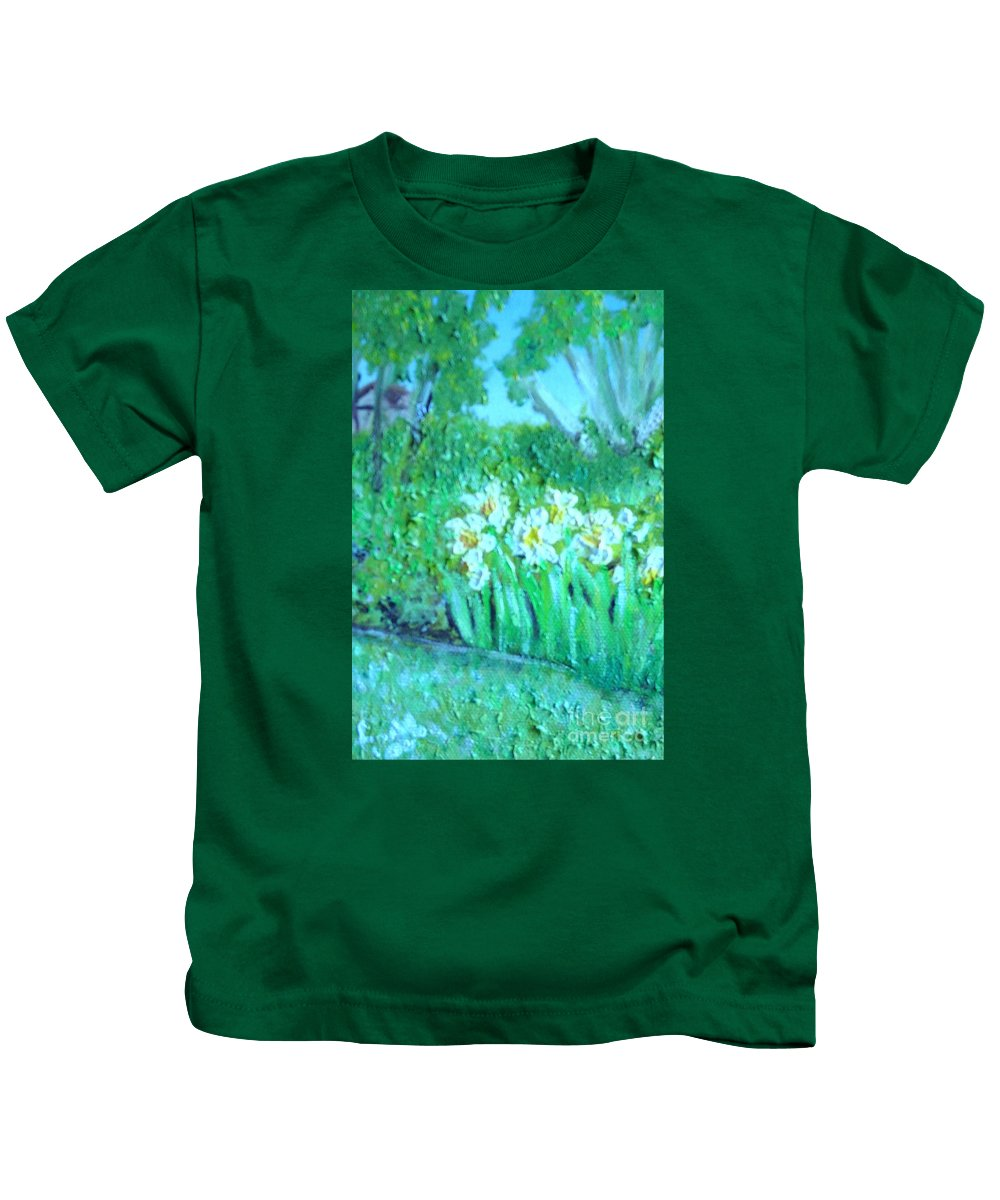 Daffodils Kids T-Shirt featuring the painting Dependable Daffodils by Laurie Morgan