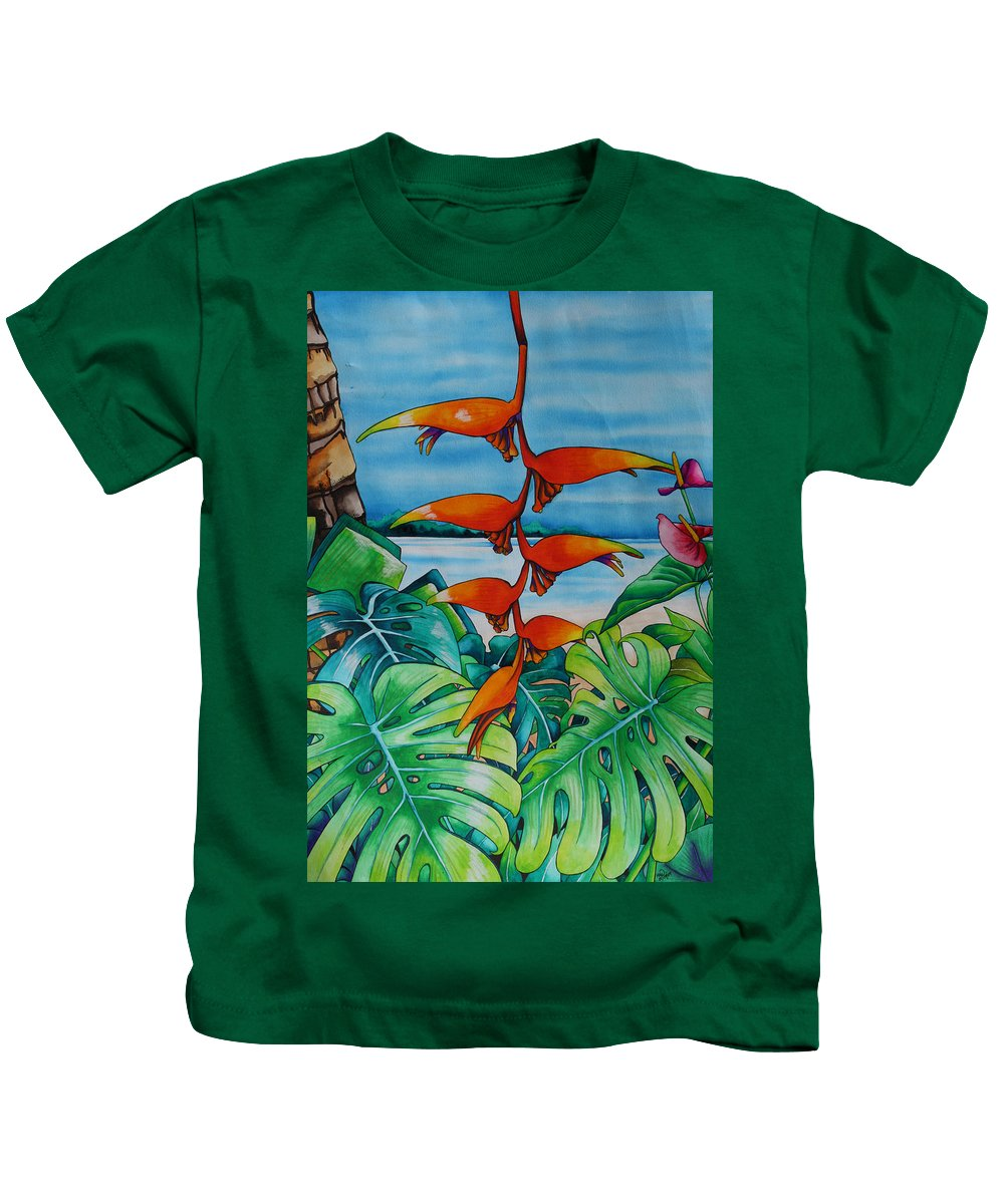 Heliconia Kids T-Shirt featuring the painting Dominican Heliconia by Helen Weston