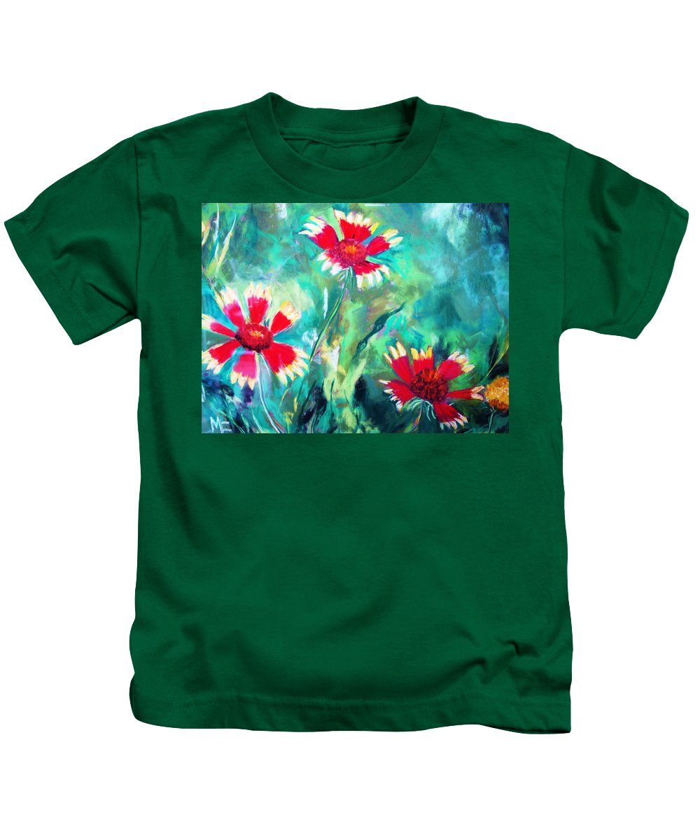 Flowers Kids T-Shirt featuring the painting East Texas Wild Flowers by Melinda Etzold