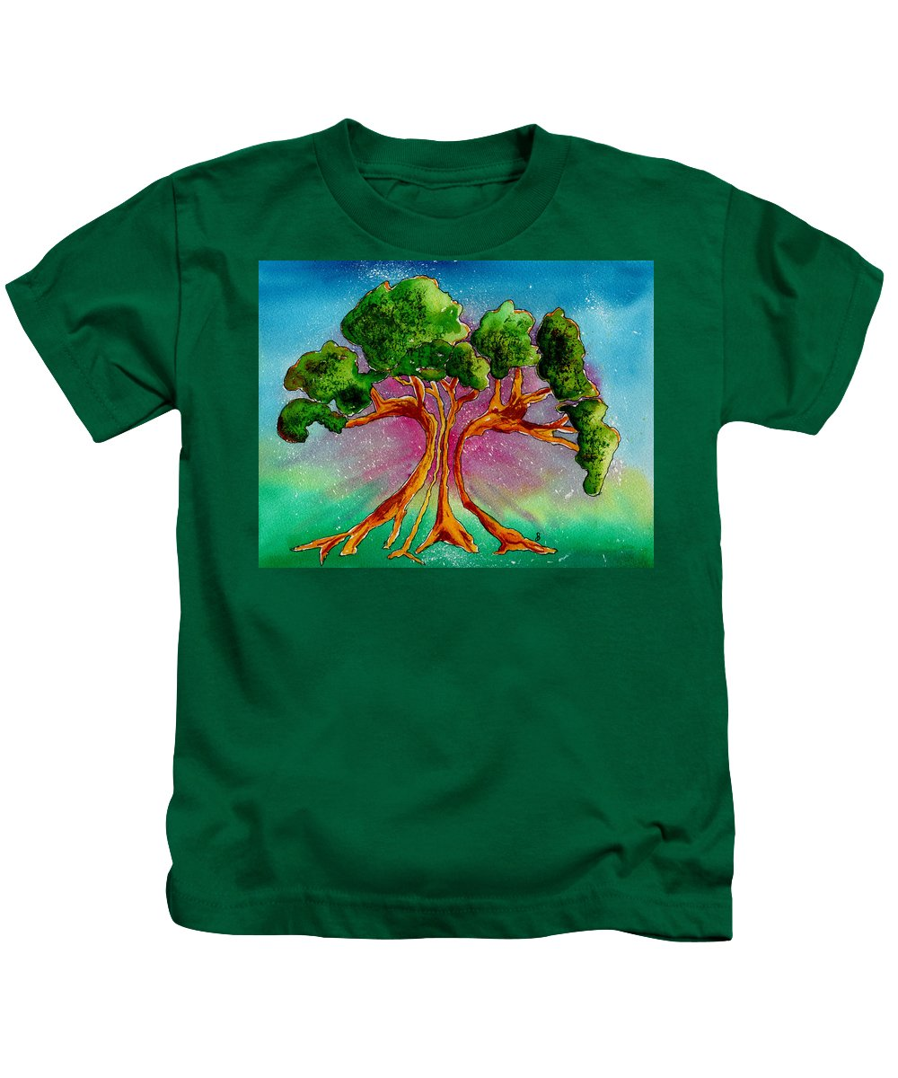 Watercolor Kids T-Shirt featuring the painting Eden's Tree by Brenda Owen