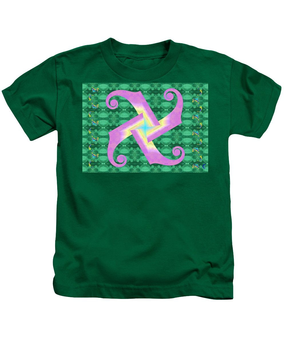 Vivid Kids T-Shirt featuring the digital art Fiddle-head Pattern by Christopher Jay