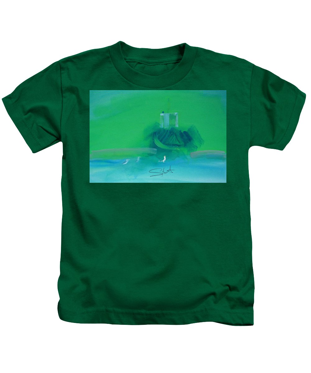 Fishing Boat Kids T-Shirt featuring the painting Fishing Boat With Seagulls by Charles Stuart