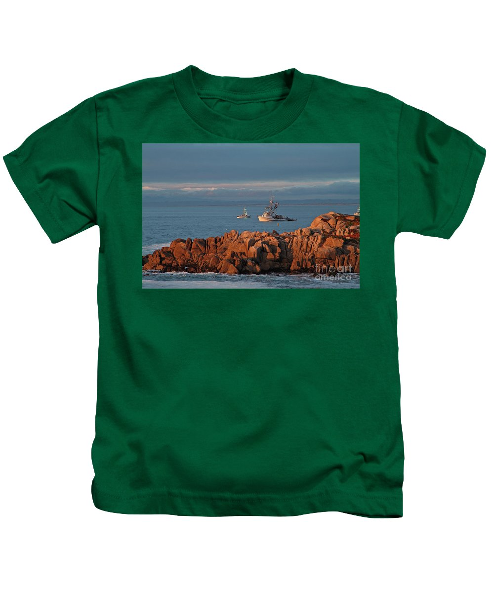 Seascape Kids T-Shirt featuring the photograph Fishing Boats On Monterey Bay by Charlene Mitchell