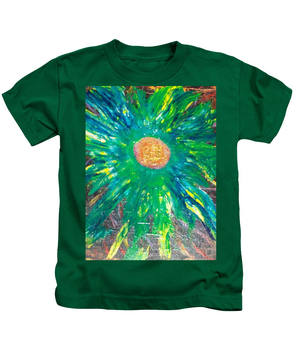 Flower Power Kids T-Shirt featuring the painting Flowah Powah by Laurette Escobar