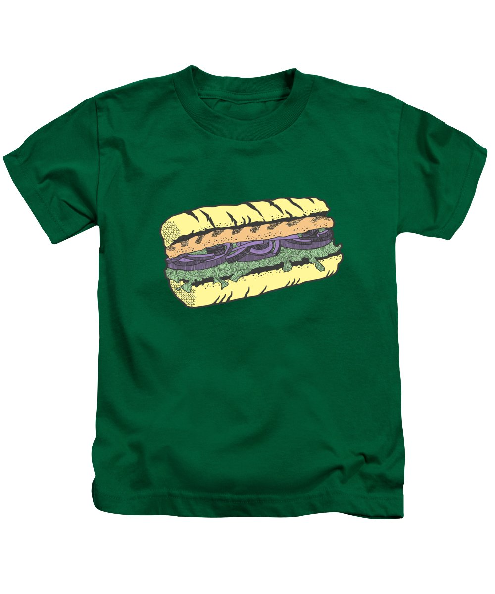Sandwich Kids T-Shirt featuring the drawing Food Masquerade by Freshinkstain