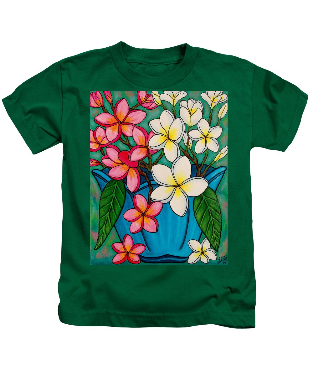 Frangipani Kids T-Shirt featuring the painting Frangipani Sawadee by Lisa Lorenz