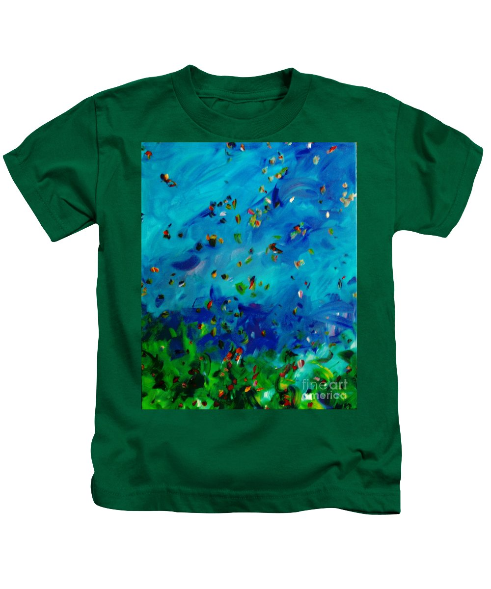 Landscape Kids T-Shirt featuring the painting Freelancing by Reina Resto
