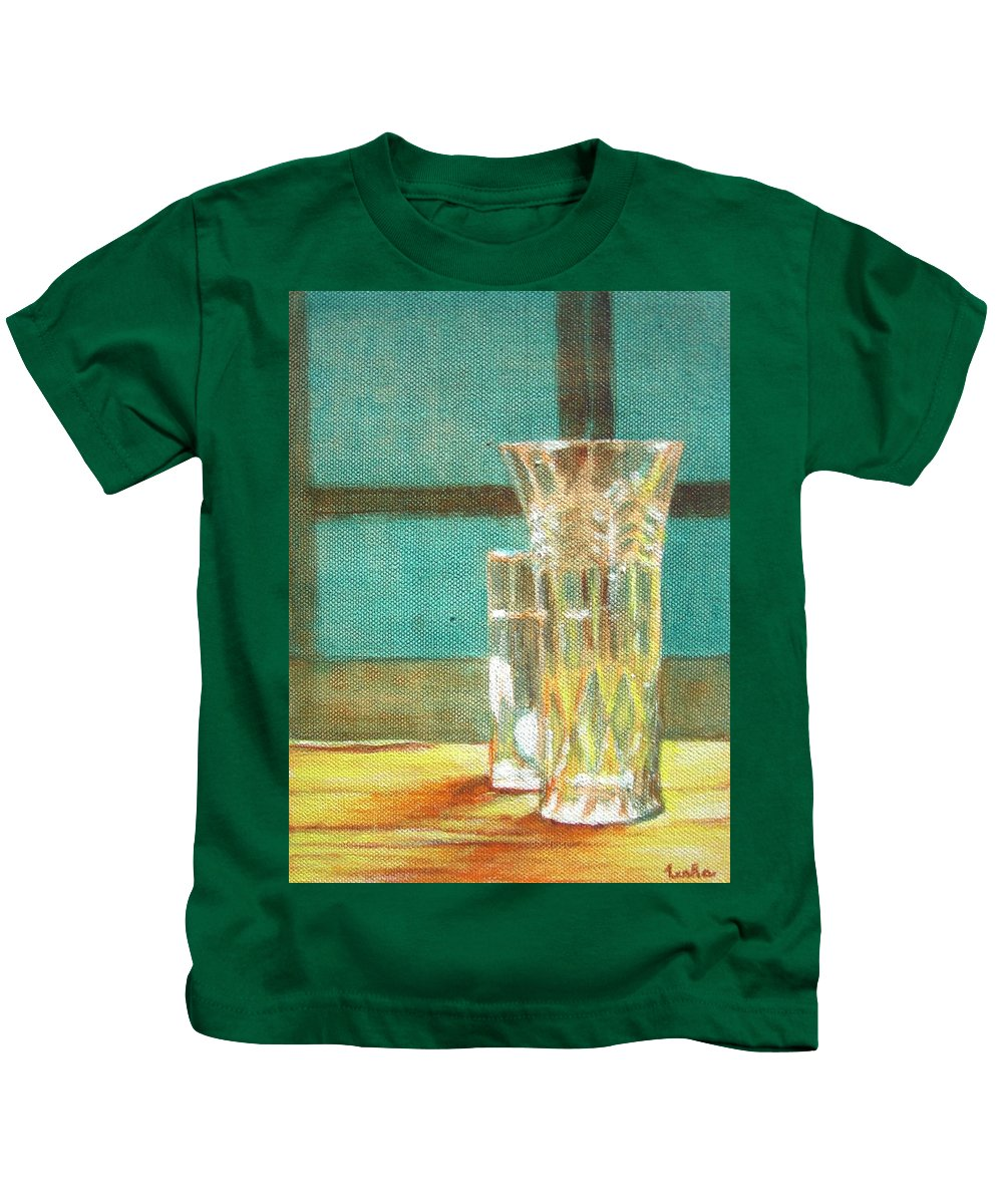 Glass Kids T-Shirt featuring the painting Glass Vase - Still Life by Usha Shantharam