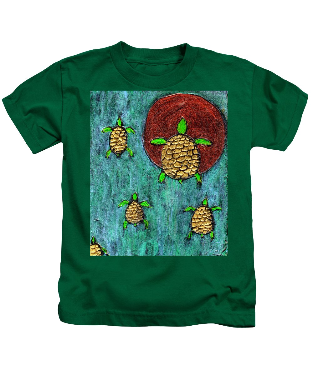 Sea Turtle Kids T-Shirt featuring the painting Going Home by Wayne Potrafka