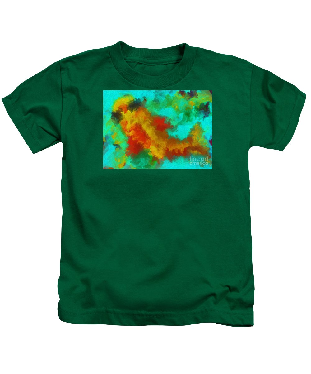 Gold Kids T-Shirt featuring the painting Gold Fish by UniQ Arts